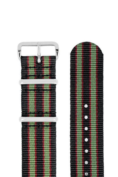 NATO Watch Strap in BLACK/OLIVE/RED with Polished Buckle and Keepers
