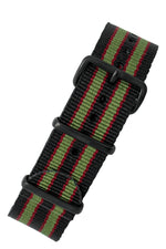 NATO Watch Strap in BLACK/OLIVE/RED with PVD Buckle and Keepers