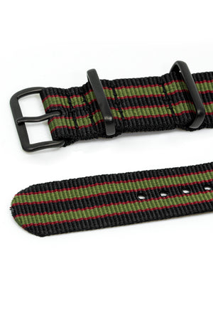 NATO Watch Straps in BLACK/OLIVE/RED with PVD Buckle and Keepers