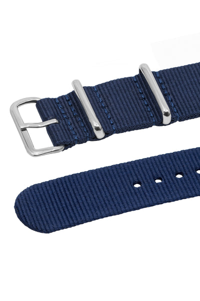 NATO Watch Strap in BLUE with Polished Buckle and Keepers