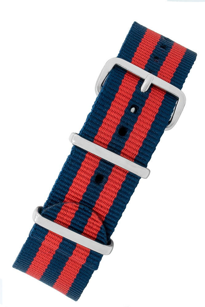NATO Watch Strap in BLUE / RED Stripes with Polished Buckle & Keepers