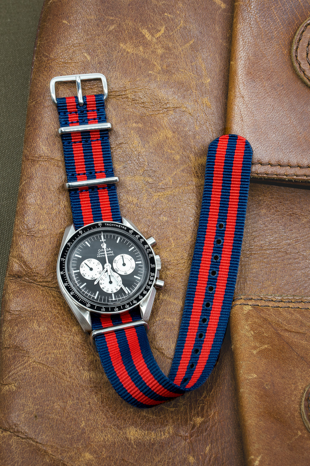 Nato Watch Straps in BLUE / RED Stripes with Polished Buckle & Keepers