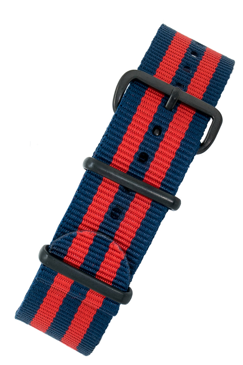 NATO Watch Straps in BLUE / RED Stripes with PVD Buckle & Keepers