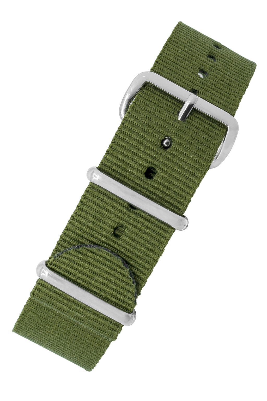 Nato Watch Straps in GREEN with Polished Buckle and Keepers