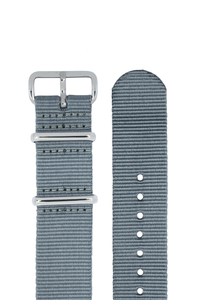 NATO Watch Strap in GREY with Polished Buckle and Keepers