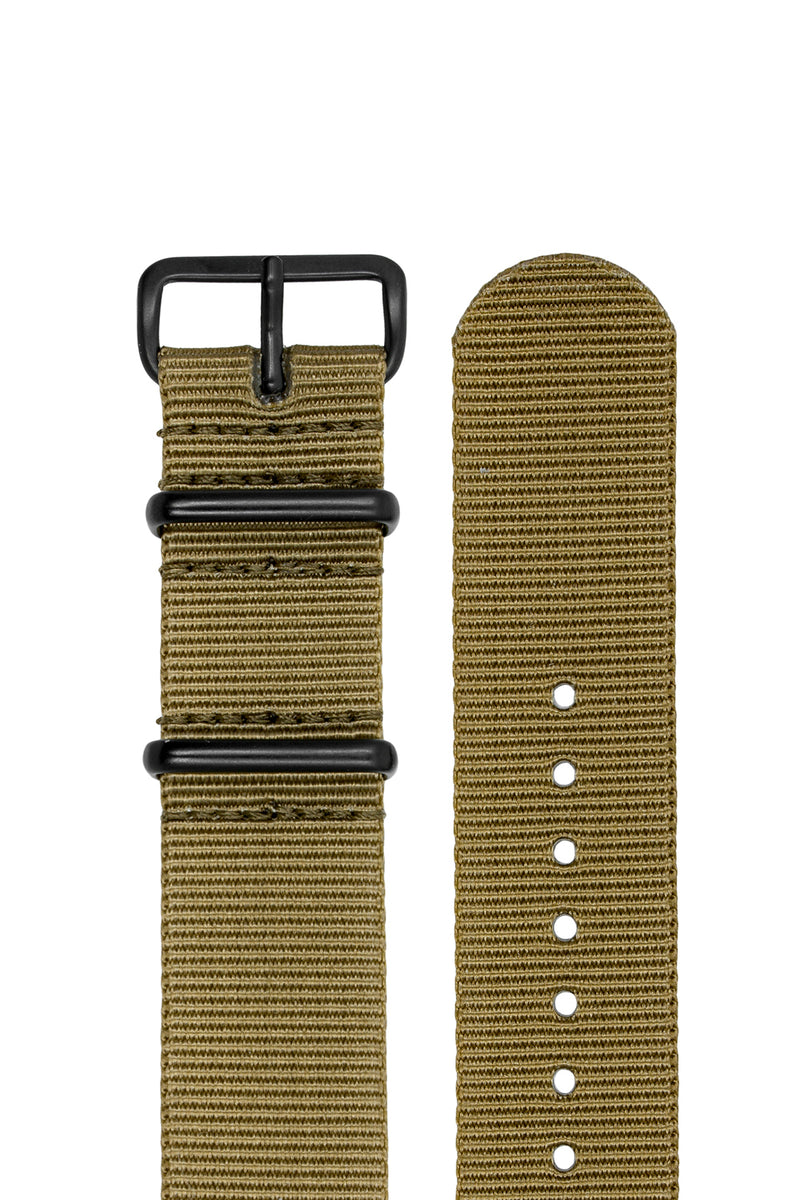 NATO Watch Strap in KHAKI with PVD Buckle and Keepers