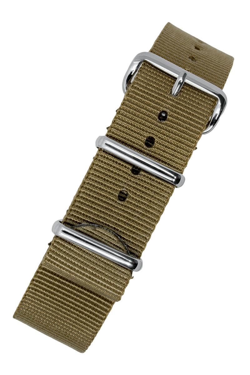 NATO Watch Straps in KHAKI with Polished Buckle and Keepers