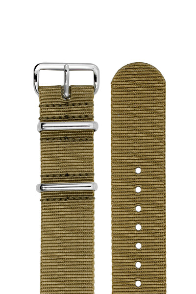 NATO Watch Strap in KHAKI with Polished Buckle and Keepers