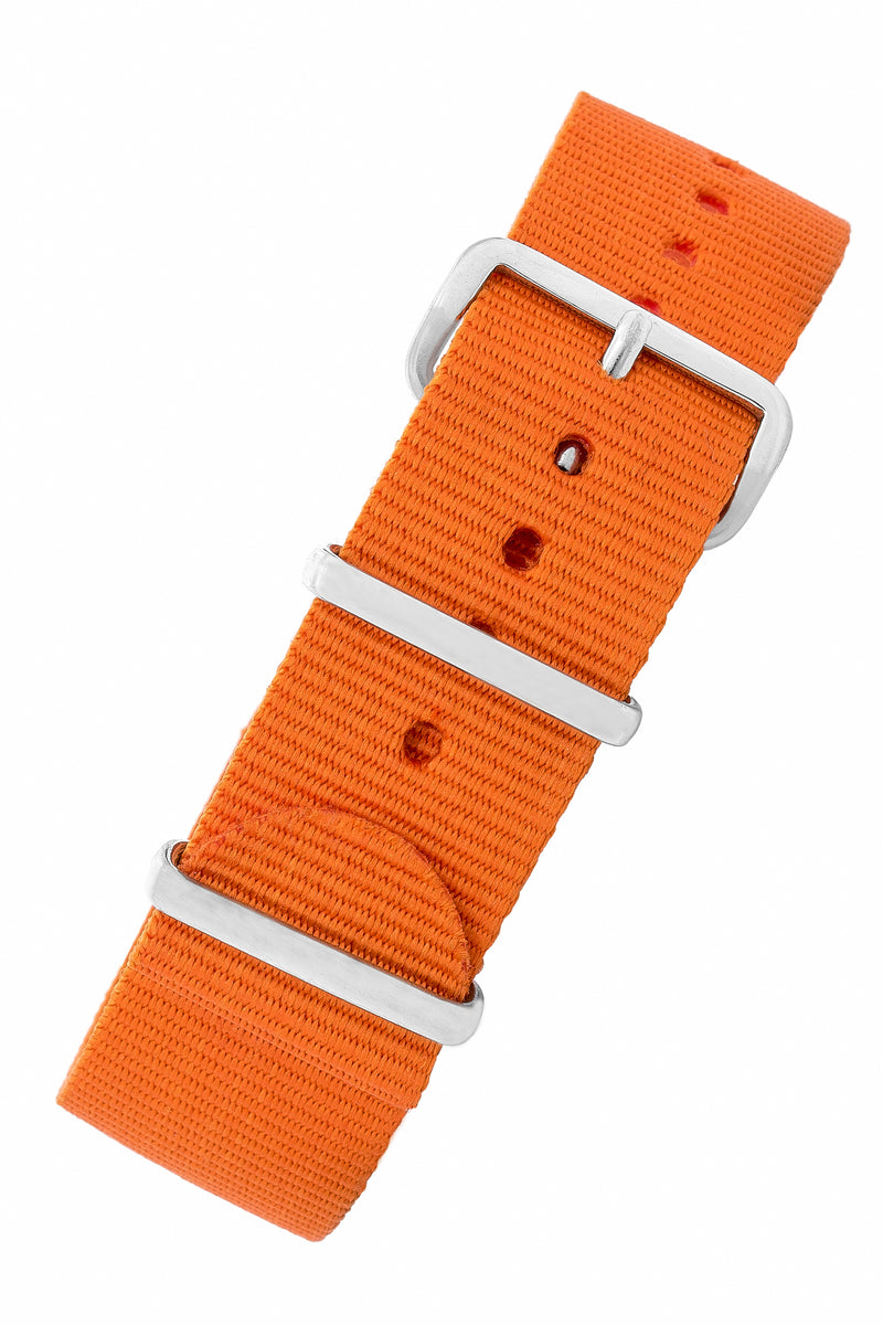 NATO Watch Straps in ORANGE with Polished Buckle and Keepers