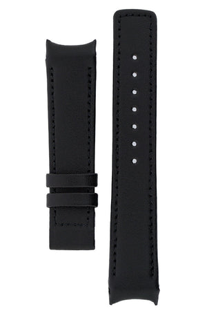 Hirsch OEM Heavy Calf curved ended watch strap in black