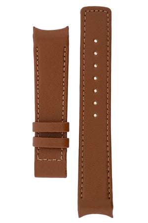 Hirsch OEM Heavy Calf curved ended watch strap in gold brown