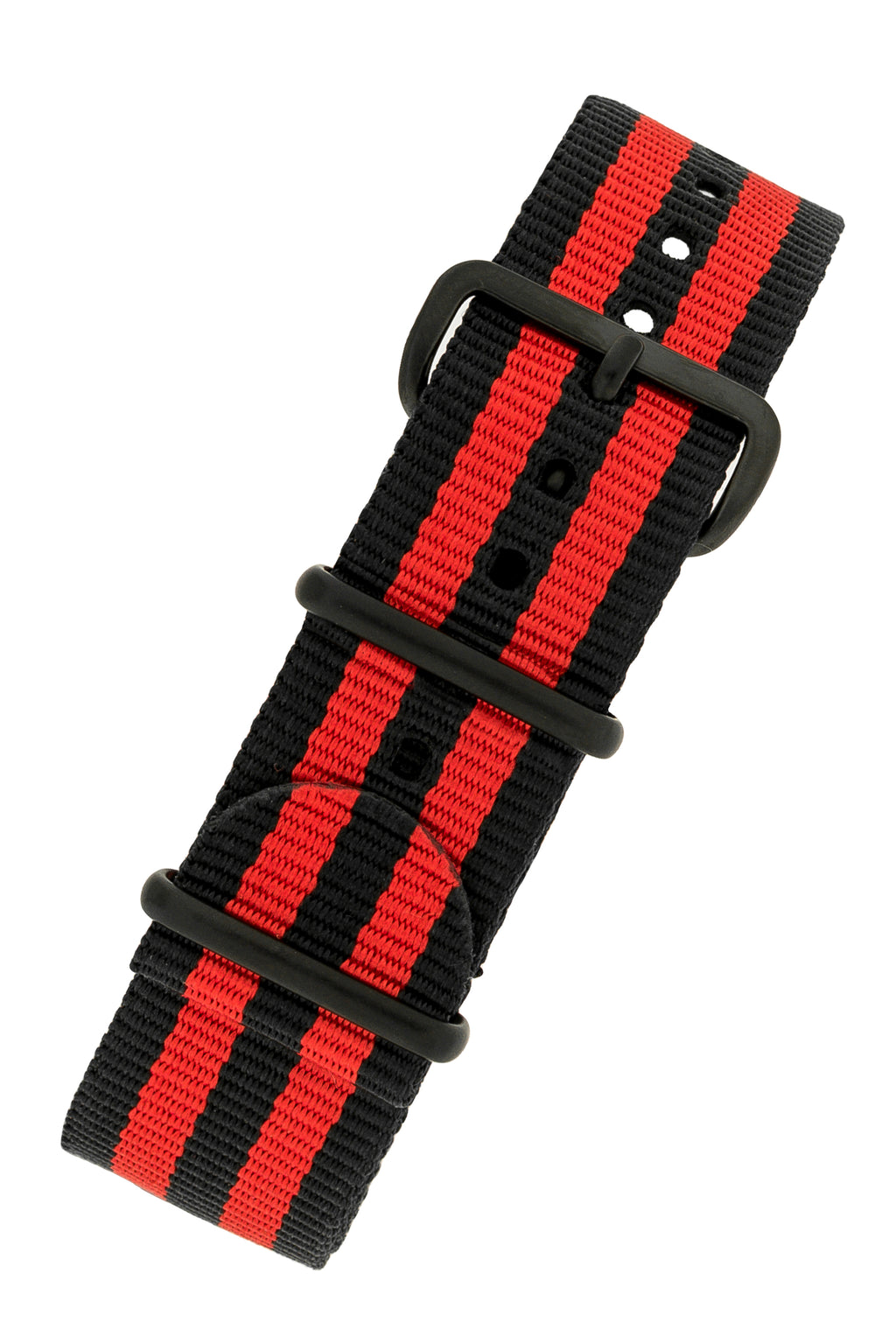 Nato Watch Straps in BLACK / RED Stripes with PVD Buckle & Keepers