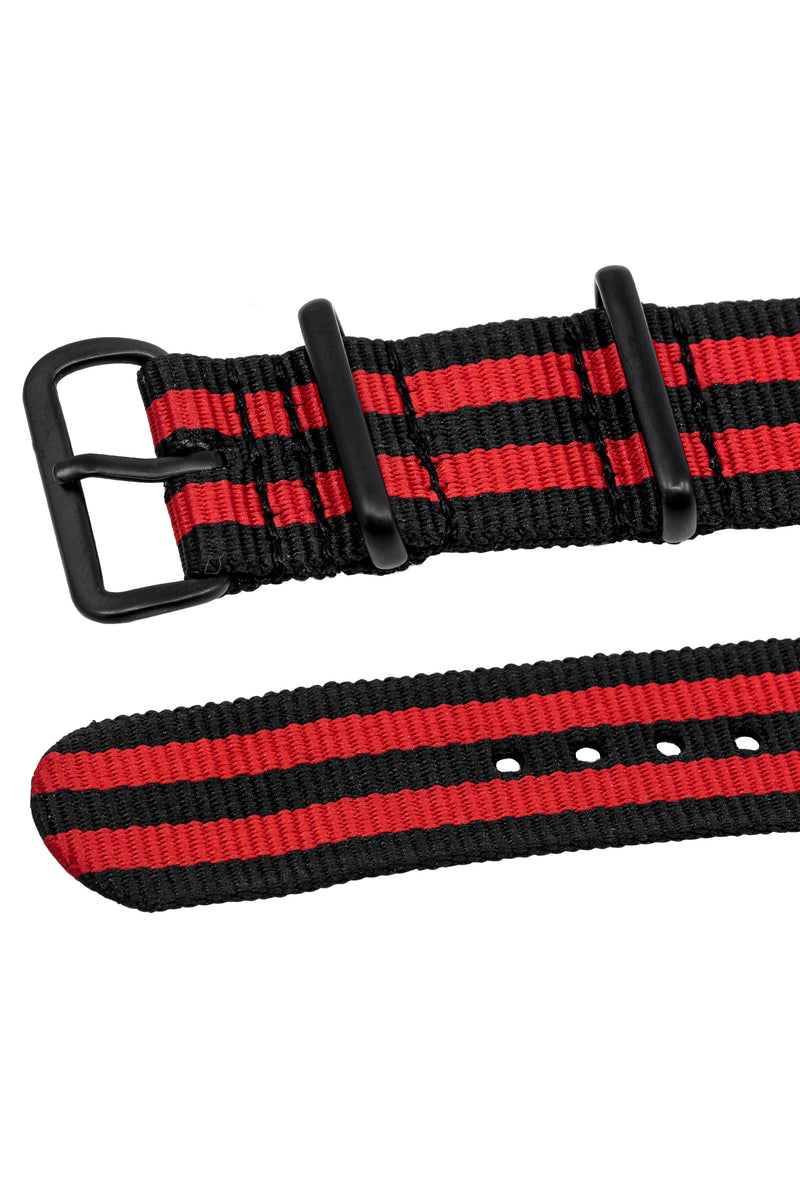 NATO Watch Strap in BLACK / RED Stripes with PVD Buckle & Keepers