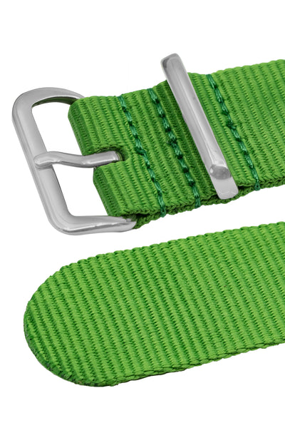 NATO Watch Strap in BRIGHT GREEN with Polished Buckle and Keepers