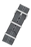 NATO Centre-Stitch Strap in GREY with White Stitch and Polished Buckle & Keepers