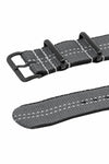 NATO Centre-Stitch Strap in GREY with White Stitch and PVD Buckle & Keepers