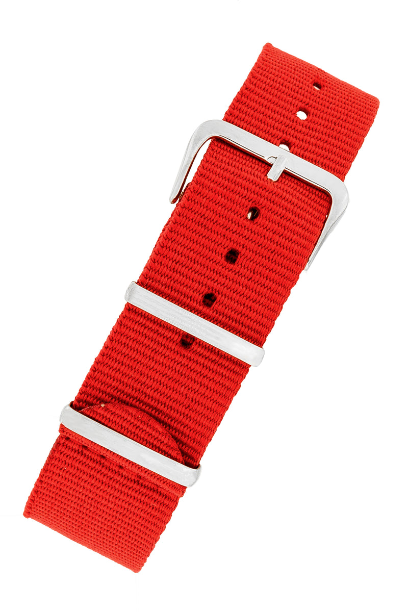 NATO Watch Straps in RED with Polished Buckle and Keepers