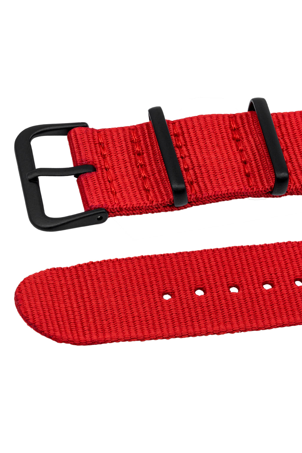 NATO Watch Straps in RED with PVD Buckle and Keepers
