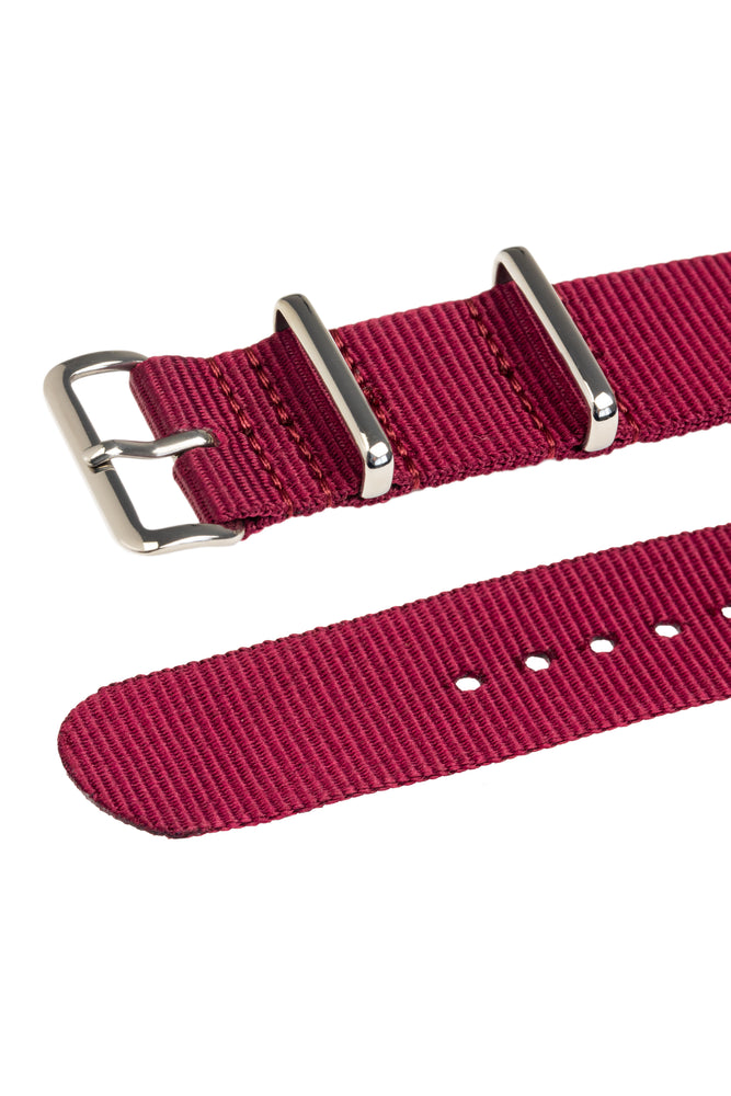 NATO Watch Strap in BURGUNDY with Polished Buckle and Keepers