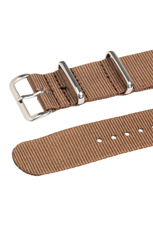 NATO Watch Strap in COFFEE BROWN with Polished Buckle and Keepers