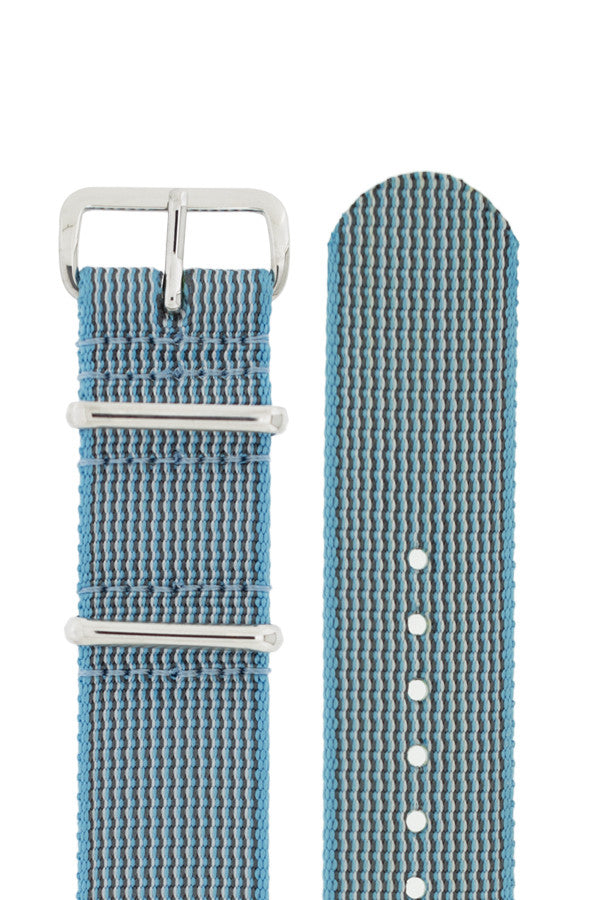 NATO Watch Strap in SKY BLUE with Polished Buckle and Keepers