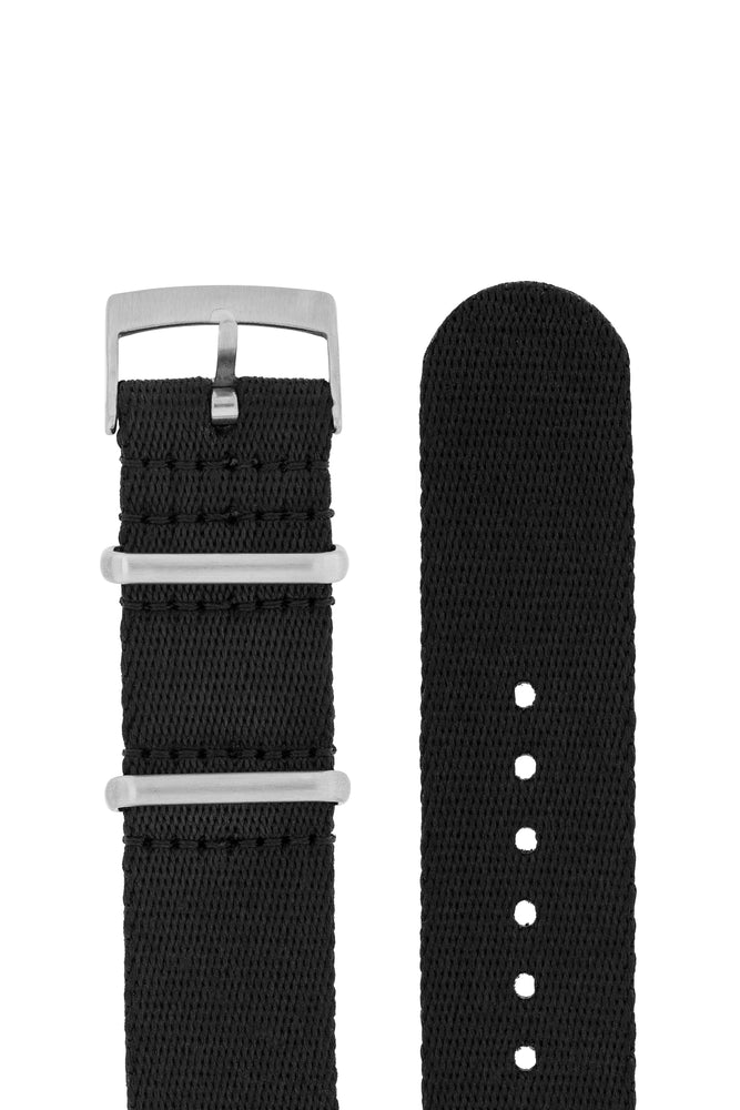 Premium NATO Watch Strap in SOLID BLACK with Brushed Hardware