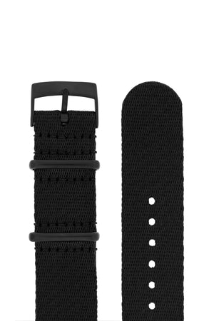 Premium NATO Watch Strap in Solid Black with Black PVD Hardware