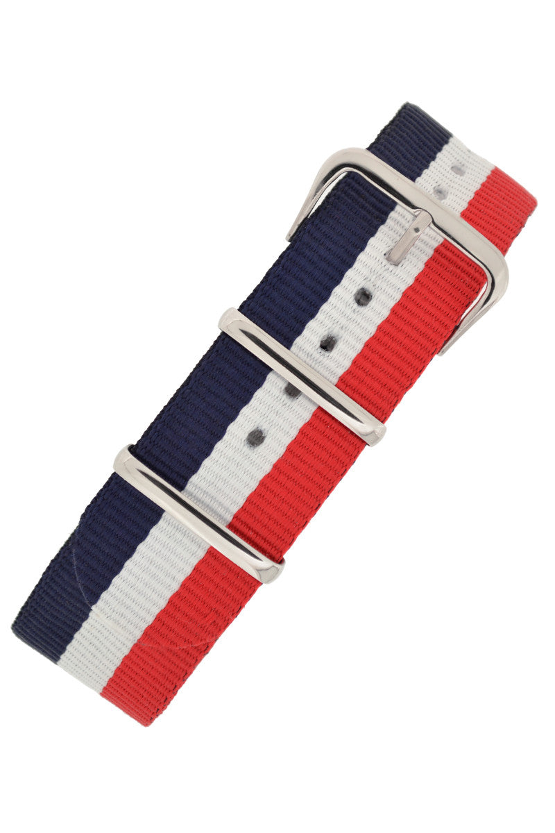 NATO Watch Strap in BLUE/WHITE/RED Stripes