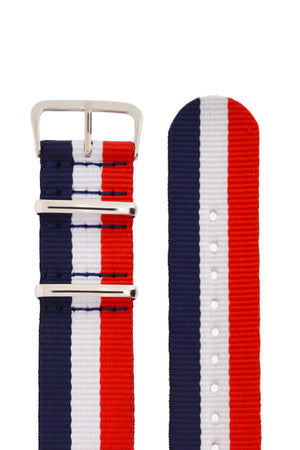 NATO Watch Straps in BLUE/WHITE/RED Stripes