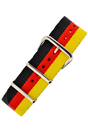 NATO Watch Strap in BLACK/RED/YELLOW Stripes