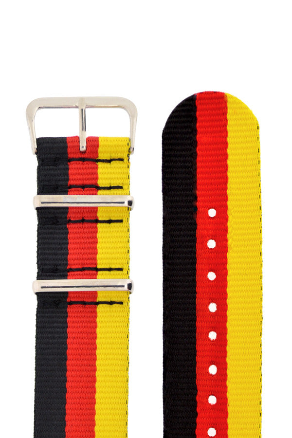 Nato Watch Straps in BLACK/RED/YELLOW Stripes