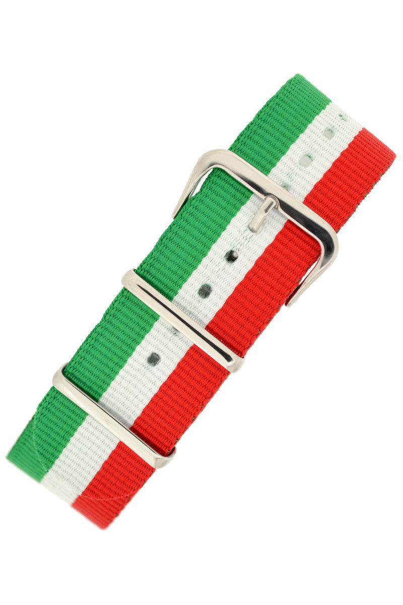 Nato Watch Straps in GREEN/WHITE/RED Stripes