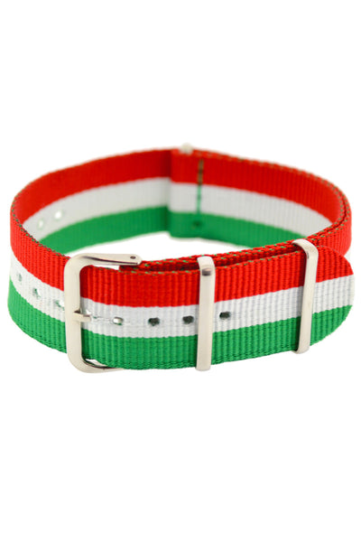NATO Watch Strap in GREEN/WHITE/RED Stripes