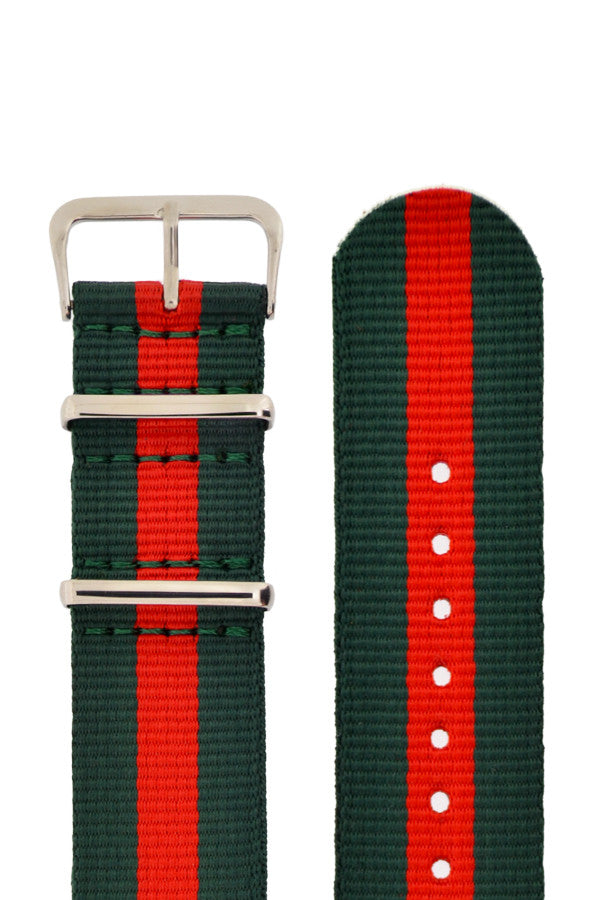 Nato Watch Straps in GREEN with RED Stripe