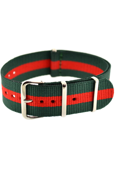 NATO Watch Strap in GREEN with RED Stripe