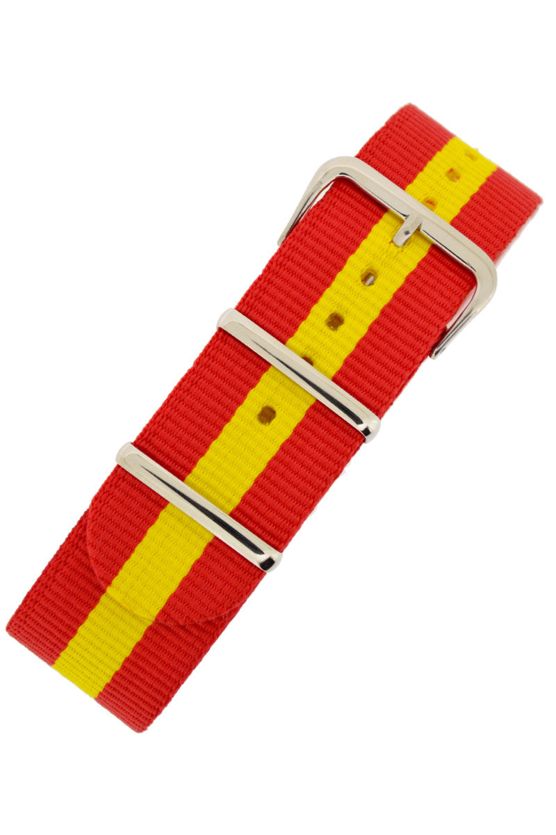 NATO Watch Strap in RED with YELLOW Stripe