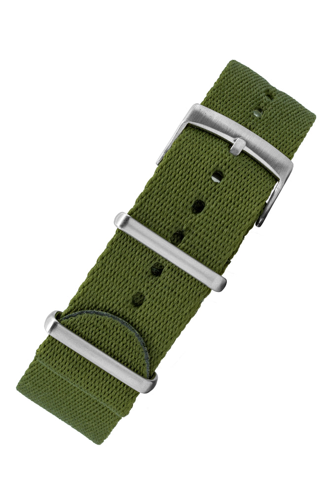 Premium NATO Watch Strap in GREEN with Brushed Hardware