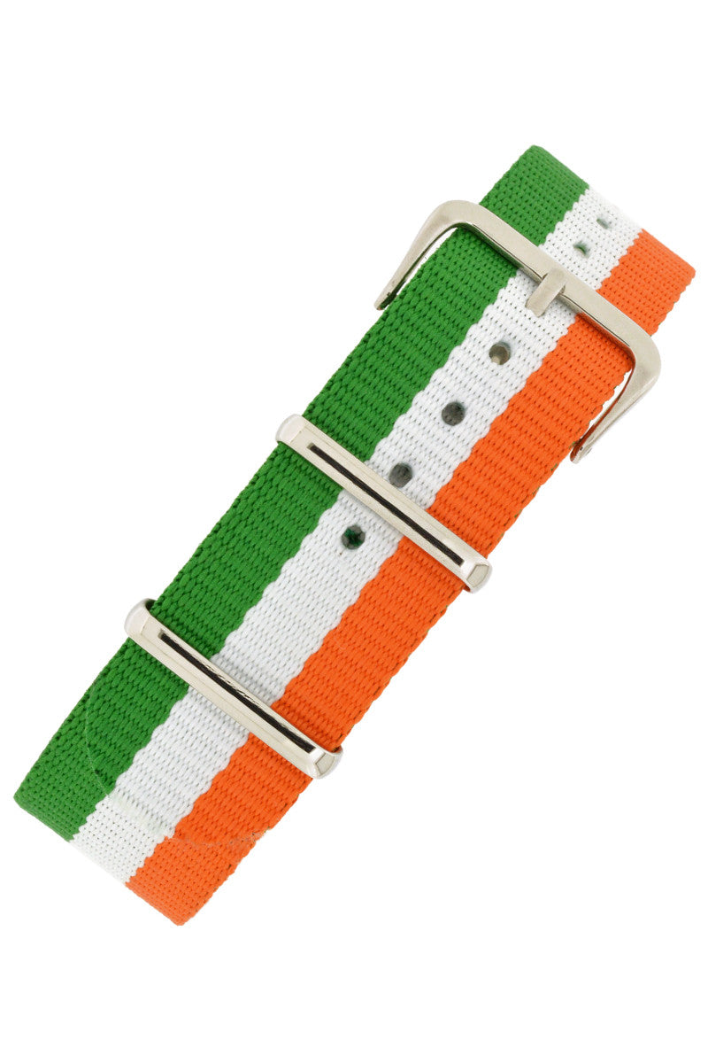 NATO Watch Straps in GREEN/WHITE/ORANGE Stripes