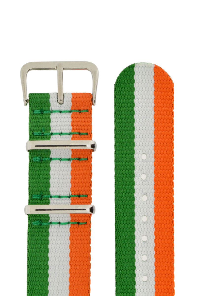 NATO Watch Strap in GREEN/WHITE/ORANGE Stripes