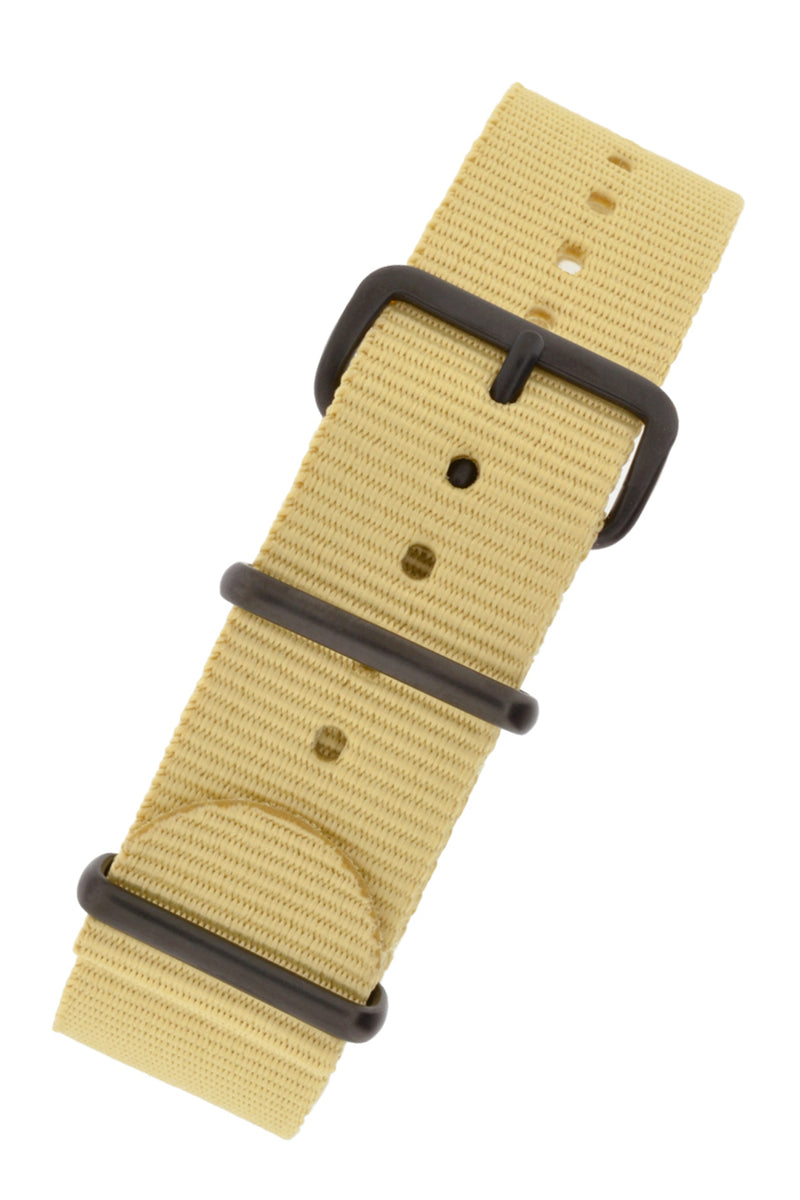 NATO Watch Straps in BEIGE with PVD Buckle and Keepers