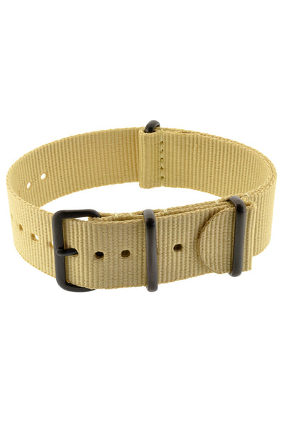 NATO Watch Strap in BEIGE with PVD Buckle and Keepers