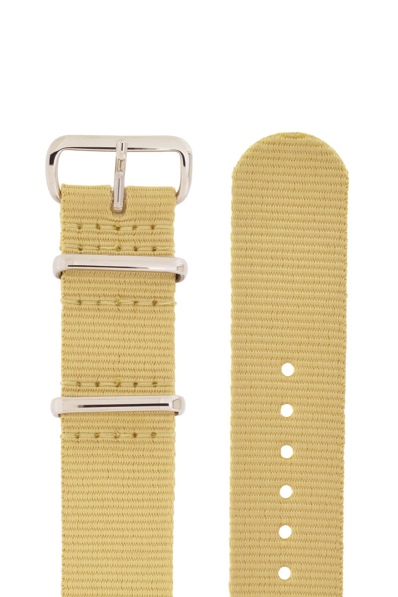 Nato Watch Strap in BEIGE with Polished Buckle and Keepers
