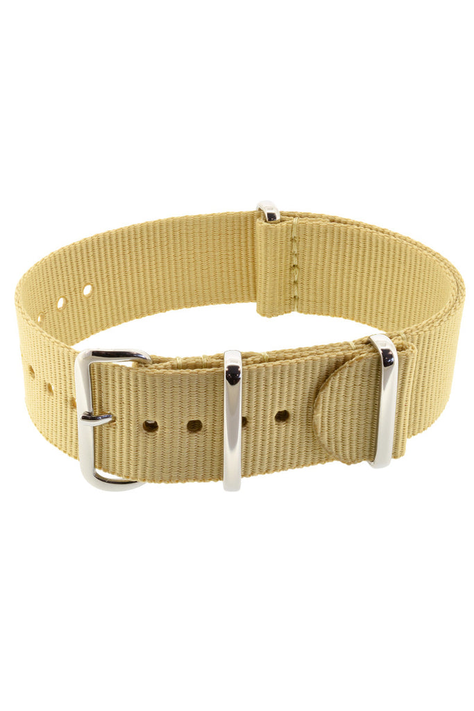 Nato Watch Straps in BEIGE with Polished Buckle and Keepers