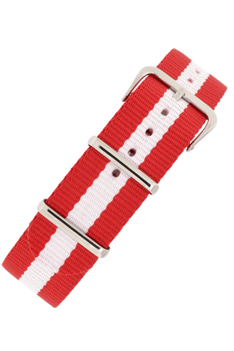 Nato Watch Straps in RED with WHITE Stripe