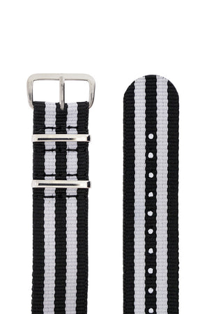 Buckle and pin holes of black Nato with white stripes