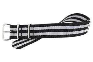 Full length black Nato strap with white stripes