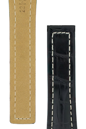 Hirsch Navigator Genuine Alligator Deployment Watch Strap in Black (Underside & Tapers)