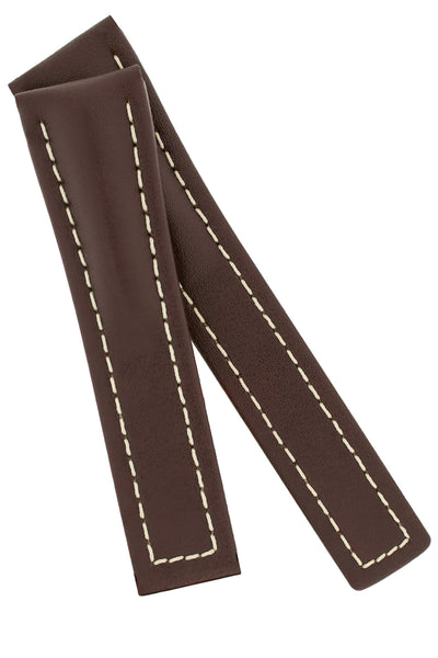 Hirsch NAVIGATOR Calfskin Deployment Watch Strap in BROWN