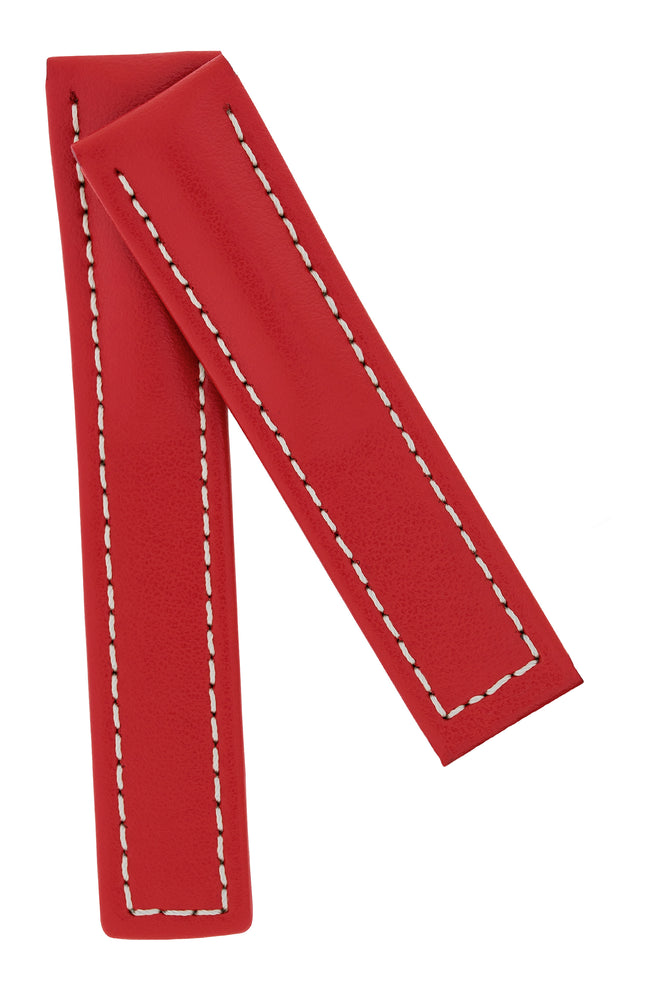 Hirsch NAVIGATOR Calfskin Deployment Watch Strap in RED