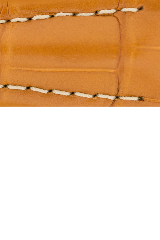Hirsch Navigator Genuine Alligator Deployment Watch Strap in Honey Brown (Close-Up Texture Detail)
